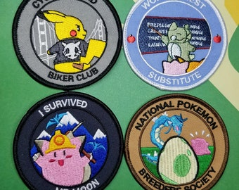 Set of Cycling Road Biker Club, World's Best Substitute, I Survived Mt. Moon, & National Pokemon Breeders Society IronOn Embroidered Patches