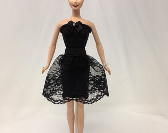 "Little Black Dress-11.5"" Doll Clothes-Black Doll Dress-Doll Dress-Dress-up Clothes-Girls Birthday Gifts-Toys"