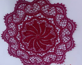 Crochet Doily in dark red color, round crochet doily in bordeaux, burgundy color, centerpiece,table decor 44 cm, 17 1/2 inches, table topper