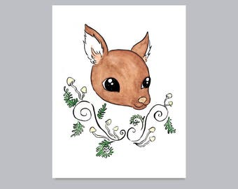 Woodland Deer with Ferns and Mushrooms Print