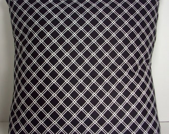 "Black and White Pillow Cover, 16 Inch Square Cotton, Envelope Style Cotton Pillow Case ""Ebony Latticework"""