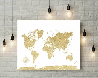 Wedding World Map | Glitter Gold World Map Canvas | Travel World Map | Push Pin World Map | Christmas Gift | World Map Guest Book -54577