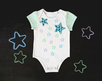 Newborn onesie, cotton bodysuit, gender neutral boy girl, front opening or shoulder flaps, stars polkadot space baby shower, mom to be