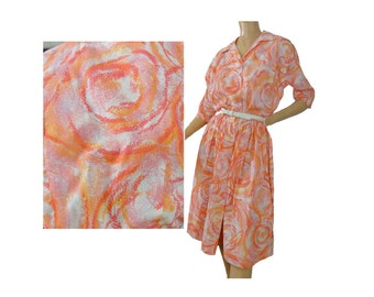 Pink Floral Print Vintage 60s Dress Shirtwaist Day Dress Crepe M - L Pleated Skirt Lois Young