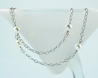 Freshwater Pearl Necklace, White Pearl Necklace, Bridal Necklace, Sterling Silver, Layered Necklace, Ready to Ship