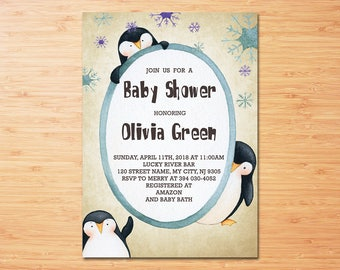 Penguin Baby Shower Invitation, Baby Shower Invitation, Penguin Baby Shower Invitation, Winter Baby shower Invitation