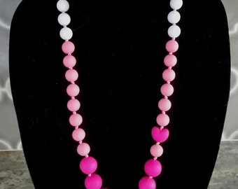 Sale! Pink OMBRE Silicone TEETHING NECKLACE! bpa free! Food-Grade Silicone! Perfect Baby Shower or Mother's Day Gift!
