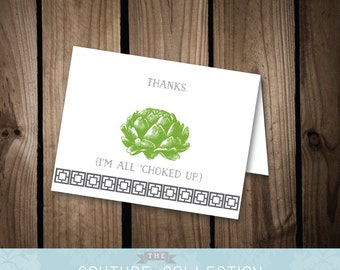 All 'Choked Up Thank You Card - Artichoke Note Card Stationery Minimalist Printable DIY Digital File - Pattern Funny Thank You Card
