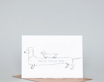 Hello Little One Greeting Card, Blue/Pink