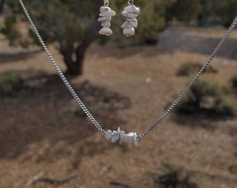 Howlite Necklace and Earrings Set