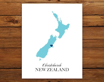New Zealand Country Love Map Silhouette 8x10 Print - Customized