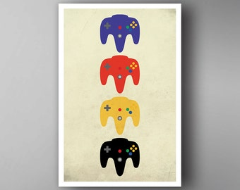 Nintendo 64 Inspired. N64 Pads. Nintendo. Video Game Poster. Wall Art.
