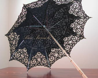 Black Cotton Lace Parasol
