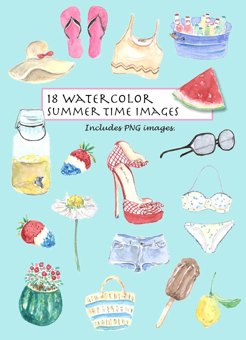 CLIP ART Watercolor Vintage Summer Time Set. 18 Images.