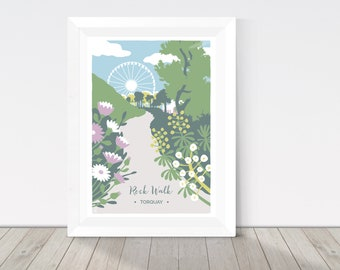 Nature print, Rock Walk in Torquay, Devon illustration, coastal print, African daisies and Euphorbia, palm trees, botanical print