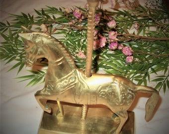 Brass Carousel Horse, Brass Horse Figurine, Brass Carousel Horse Statue, Brass Business Card Holder, Brass Ring Holder