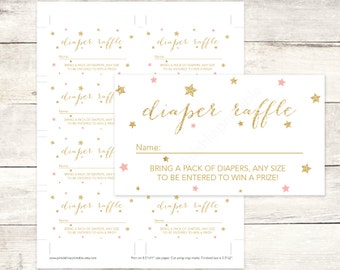 pink gold twinkle star diaper raffle tickets printable baby shower DIY pink gold baby digital shower games - INSTANT DOWNLOAD