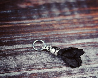 Black Flower Tassel - Goth - Knit/Knitting or Crochet/Crocheting - Individual Stitch Marker/Place Holder - Gifts for Knitters or Crocheters