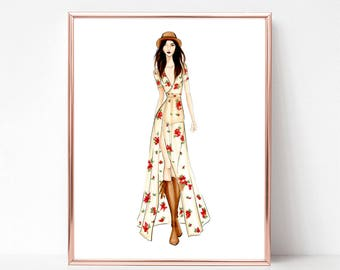 Music festival, boho chic, floral, fashion illustration print, art print, sketch, croquis,