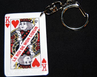 "key fob playing King of hearts with ""King of my heart"" message card"
