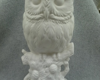 Ceramic Owl On Branch With Flower (unfinished)