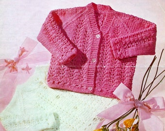 Baby DK 8ply Cardigans 2 styles 16-20ins - M&C 395 -  Pdf of Vintage Knitting Patterns