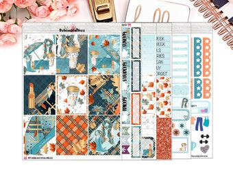 Love Fall Planner Stickers / Erin Condren Vertical Weekly Stickers / Full Kit