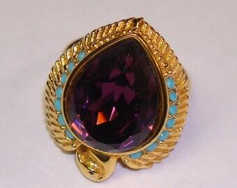 Elizabeth Taylor Designed Egyptian Falcon Ring - Amethyst Faux Turquoise