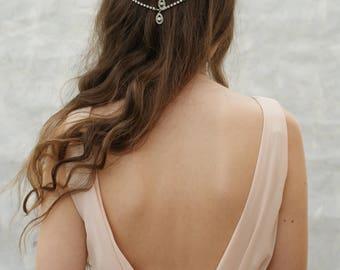 Weddding Headpiece -Bohemian Bridal Hair Accessory - crystal Head chain - Up-do Wedding Hair accessory - bun accesory