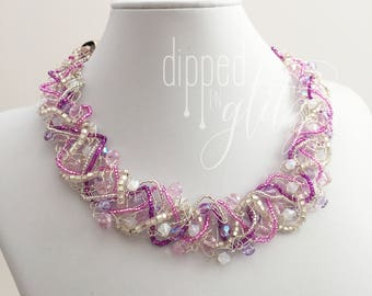 Lilac and Silver Wire Crochet Necklace | Handmade Jewelry