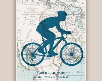 Bike art, Bicyclist Gifts, PERSONALIZED Cyclist gift, bike print, bike map art, biking lovers, bicycle art, mountain bike print, America map