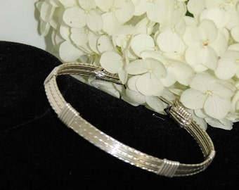 7 Strand Sterling Silver Wire Wrapped Bracelet