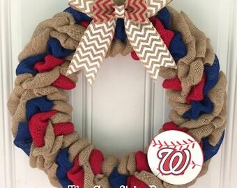 Washington Nationals burlap wreath - Washington Nationals wreath - Nationals wreath - Nationals decor - Baseball wreath - washington wreath