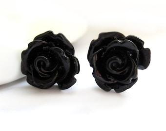 SALE - Black Rose Stud Earrings