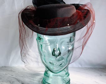 Vintage Whittall and Javits Hat. Pillbox Hat with Netting.