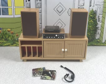 TOMY STEREO CABINET Complete with Accessories, 1970's, Lundby 1:18 Scale, Hard Plastic, Vintage Dollhouse Kitchen Furniture