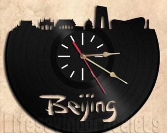 Beigiing Wall Clock Vinyl Record Clock Handmade