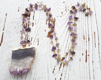 raw amethyst necklace, amethyst necklace, february birthstone necklace, crystal necklace, chunky amethyst necklace