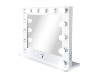 XL Grand Hollywood Impact Lighted Vanity Mirror w/ FREE LED Bulbs & Dual Outlets