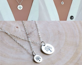 Mother daughter necklace gift set jewelry - Mothers day gift for mom Grandma - Family tree in Sterling silver - Mother and daughter jewelry
