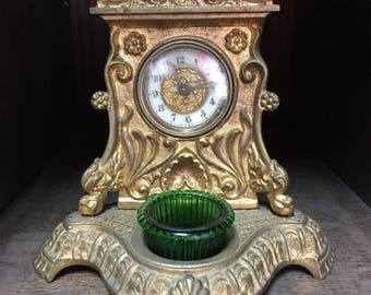 Art Nouveau Inkwell Desk Clock by The British United Clock Co.