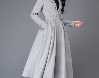 princess coat, long coat, wool coat, womens coats, grey wool coat, winter coat, maxi coat, jackets, dress coat, fit and flare coat  C996