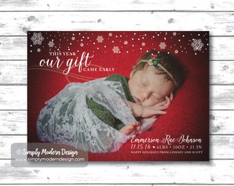 Christmas Holiday birth announcement, new years, this year our gift came early, winter, baby girl, baby boy, PRINTABLE or PRINTED CARDS