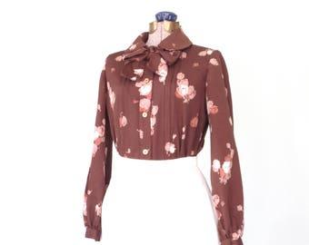 vintage ascot blouse * 60s blouse * floral blouse * vintage shirt * preppy blouse * medium