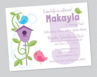 Bird Invitations, Birdhouse, Bird theme, 12 invitations w/ envelopes, Birdies, Shower Invitations, Bird Party, Cute Invitations