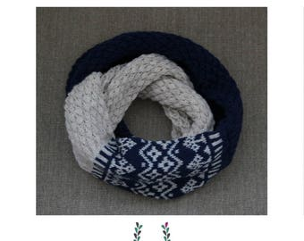 Handmade gift | Soft knitted blue and gray cowl with ornaments | Warm Christmas gift made with wool fiber | Free shipping