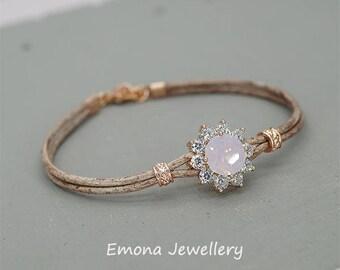 Personalized Bracelet, Leather Bracelet, Swarovski Pink Opal  Bracelet, Rose Gold Bracelet,Personalized Jewelry, Friendship Bracelet,