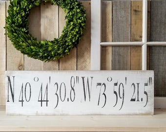 GPS Sign - GPS Coordinates Sign - Latitude  Longitude Sign - GPS Coordinates Gift - Wedding Coordinates Sign