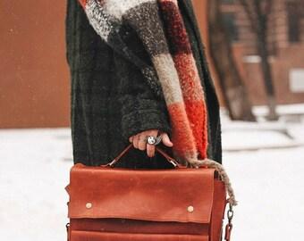 Shoulder bag/leather briefcase/messenger bag/leather bag women/gift for women/laptop bag/crossbody bag/leather satchel/handmade bag/casual/