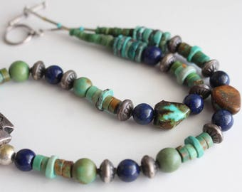 Turquoise , Lapis , Sterling vintage Necklace
